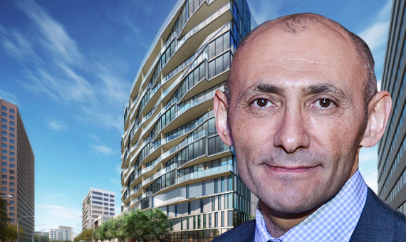 Neil Shekhter and a rendering of NMS Properties' Wilshire & La Jolla tower at 6401 Wilshire Boulevard (Credit: Urban Land Institute, Steinberg Architects)
