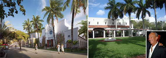 Rendering of Miami Beach Community Church, future retail site and David Edelstein