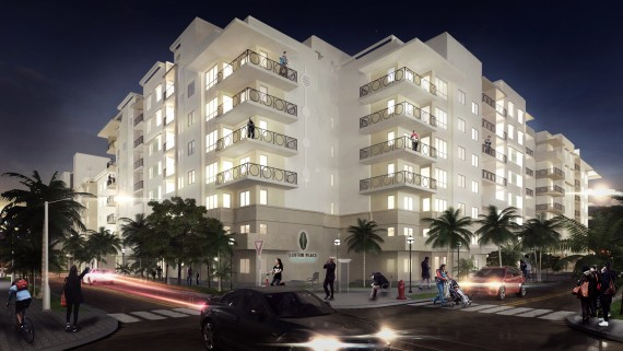 A rendering of the upcoming Loftin Place apartment community in West Palm Beach