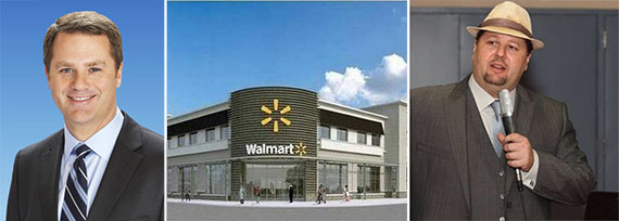 Rendering of the Midtown Miami Walmart (Inset: Walmart CEO Doug McMillon, left, and neighborhood activist Grant Stern, right)