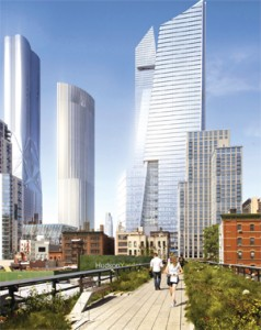 Architect David Childs (pictured bottom-right) is designing a tower at Related's Hudson Yards that will include a 200-room hotel. The two-pronged tower is pictured in the center of the rendering.