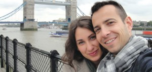 Engaged City Connections agents Ivy Paterni and Daniel Dmitry Kramp in front of London Bridge last year.
