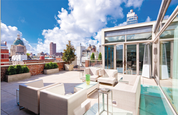 Swift is listing the penthouse at 419 Broome Street as a co-exclusive with the Corcoran Group.