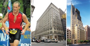 From left: Osher competing in a triathlon; 93 Worth Street; and Walker Tower