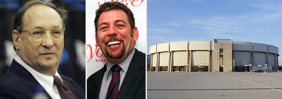 From left, Bruce Ratner, James Dolan, Nassau Coliseum