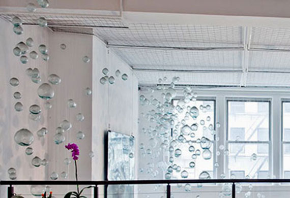 A view of the suspended glass bubbles at 66 Leonard Street