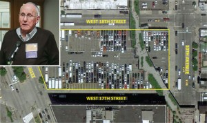 An aerial view of the High Line site and Edison Properties chairman Jerry Gottesman