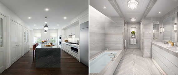 From left: Renderings of a kitchen and bathroom at 33 East 74th Street