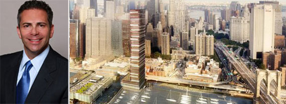 Howard Hughes CEO David Weinreb and a rendering of the South Street Seaport tower (Credit: SHoP Architects)