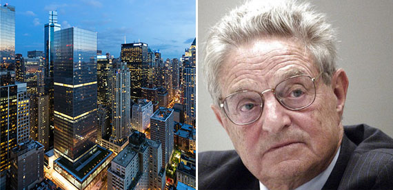 250 West 55th Street (center) and George Soros