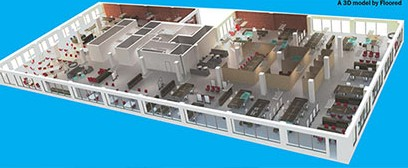 A 3D rendering of office space Credit: Floored)