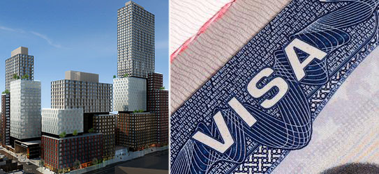 From left: Rendering of Atlantic Yards (Credit: SHoP Architects) and a U.S. visa