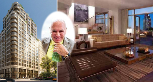Developer Maurice Mann and the interior and exterior of a penthouse unit at the Laureate