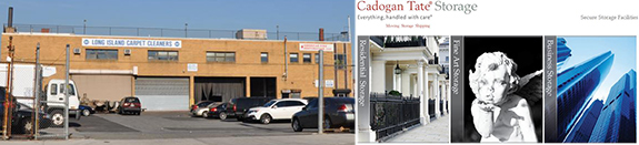From left: 301 Normal Avenue and Cadogan Tate's art storage website
