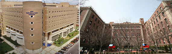 From left: SUNY Downstate Medical Center at 450 Clarkson Avenue and LICH at 339 Hicks Street