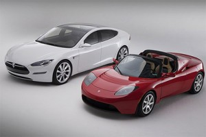 Two models of Tesla electrics cars