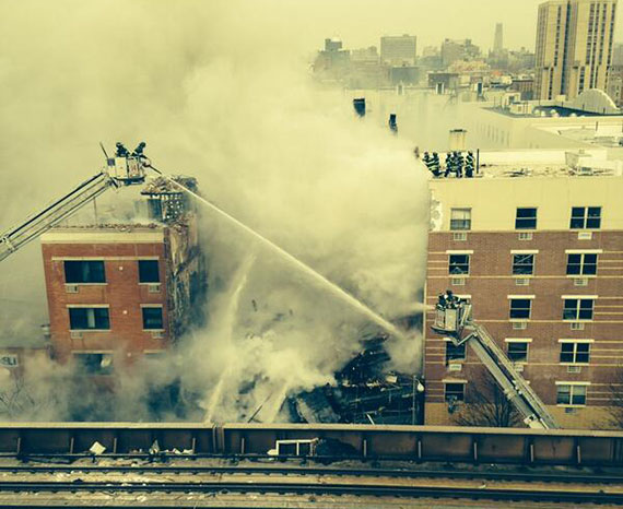 The scene at 1644-1646 Park Avenue in East Harlem (Credit: FDNY via Twitter)