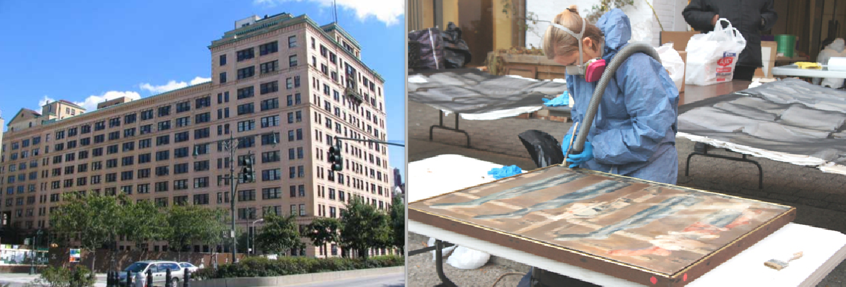 From left: 463 West Street and a volunteer cleaning artwork damaged by Hurricane Sandy
