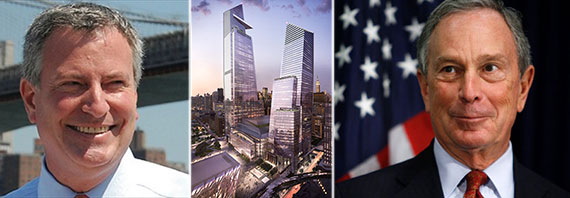 From left: Mayor Bill de Blasio, rendering of Hudson Yards and former Mayor Michael Bloomberg