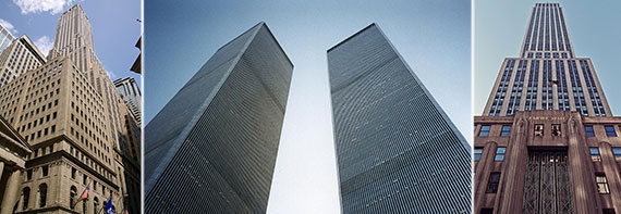 From left: 40 Wall Street, former Twin Towers at 1 and 2 World Trade Center and the Empire State Building 350 Fifth Avenue