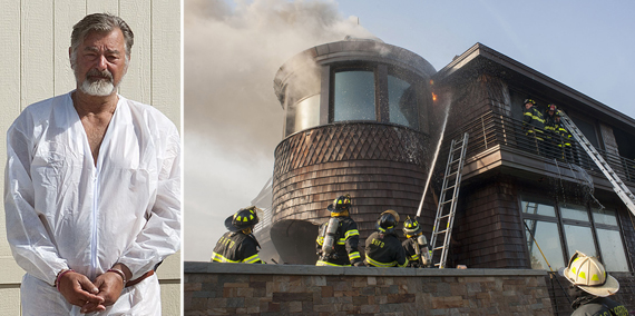 From left, arson suspect David Osiecki, firefighters putting out the blaze at 187 Dune Road in Bridgehampton