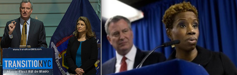From left: Bill de Blasio with Alicia Glen, and de Blasio with Shola Olatoye (Credit: Ed Reed)