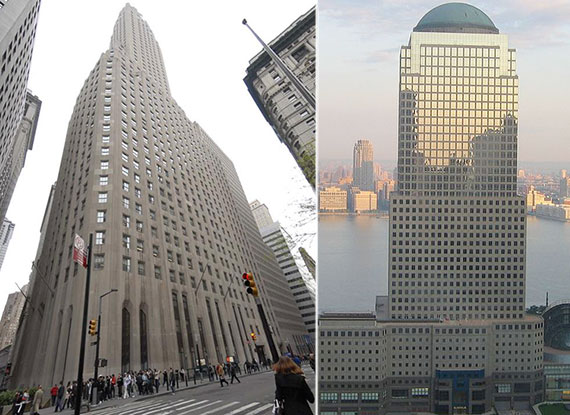 From left: BNY Mellon's current HQ at 1 Wall Street and new space contender 225 Liberty Street