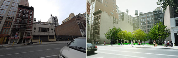 From left: 136 West 20th Street and a rendering of a proposed park there