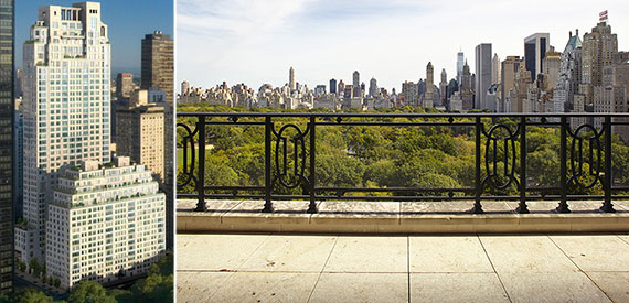 From left: 15 Central Park West and the view from the