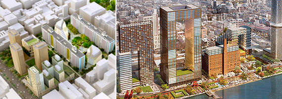 From left: Rendering of NYU's planned expansion and the Domino sugar factory conversion