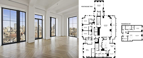 From left: Walker Tower's Penthouse Two and the floorplans of the penthouse and accompanying unit