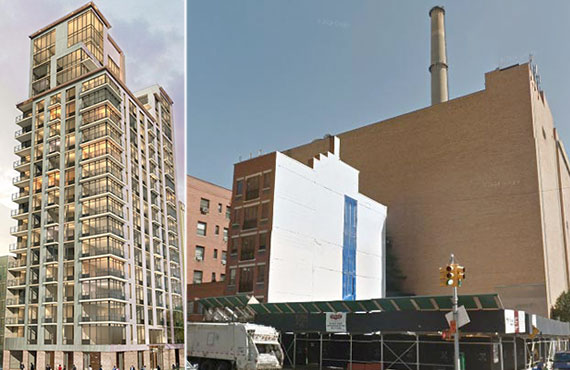 From left: Rendering of 501 East 74th Street and the site now