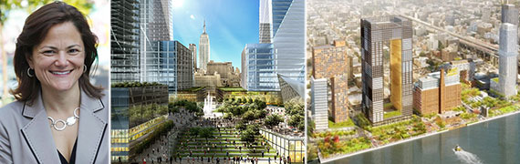 From left: Council Speaker Melissa Mark-Viverito, rendering of Domino Sugar development in Williamsburg and Hudson Yards