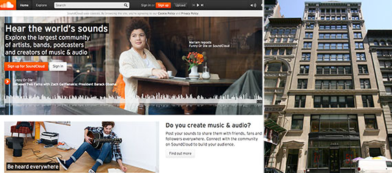 From left: SoundCloud's website and 101 Fifth Avenue