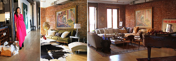 From left: Vanessa Carlton and her Soho loft at 182 Lafayette Street
