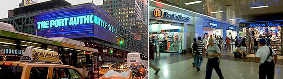 From left: Port Authority Bus Terminal and interior