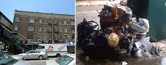 From left: 702 Rockaway Avenue and garbage