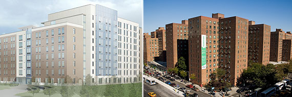 From left: Rendering of CAMBA Gardens Phase II at  560 Winthrop Street, Brooklyn and Stuyvesant Town