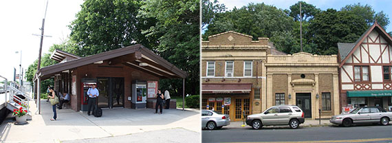 From left: the Long Island Rail Road station in Douglaston and Douglaston Parkway