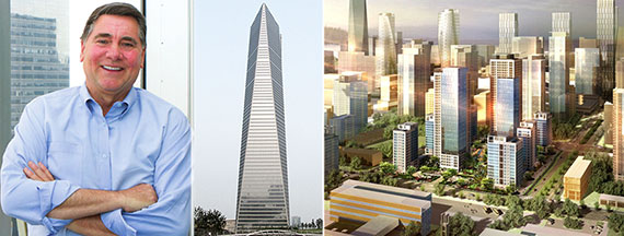 From left: Gale International's Stan Gale, Sr., the Northeast Asia Trade Tower and a rendering of Songdo, South Korea