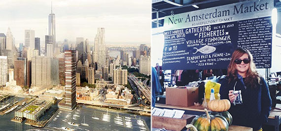 From left: Howard Hughes Corp. proposed tower at Pier 17 and New Amsterdam Market