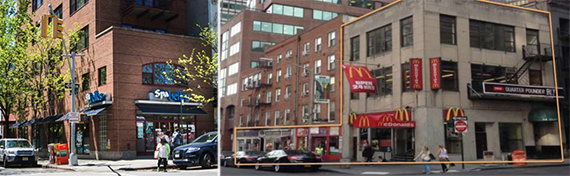 """From left"""" 202 Spring Street and 46-50 Fulton Street"""