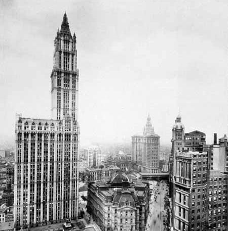 The Woolworth Building (left) was the world's tallest skyscraper until 1930