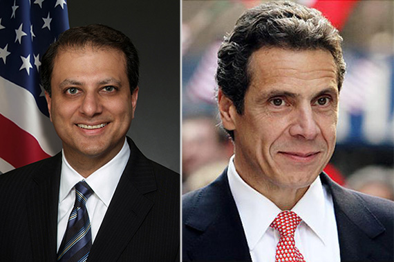 From left: Preet Bharara and Andrew Cuomo