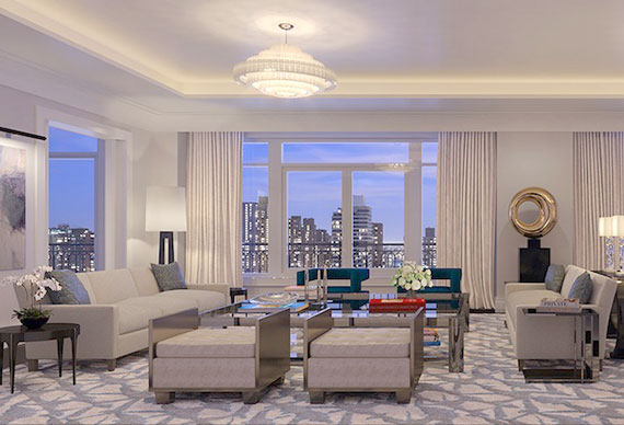 Rendering of the living room area in a 1110 Park Avenue unit