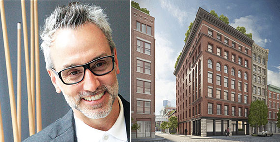 Leonard Steinberg (Credit: Briana Heard) and a rendering of 7 Harrison (Credit: Steven Harris Architects)