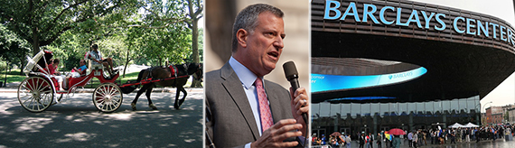 From left: Horse drawn carriage in Central Park, Mayor Bill de Blasio and the Barclays Center