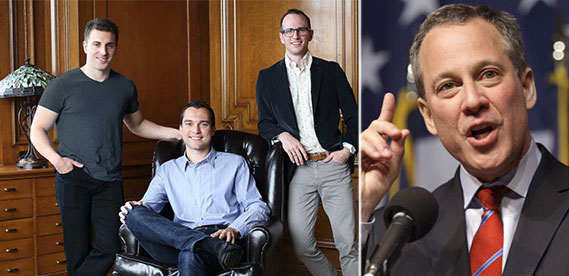 From left: Airbnb founders (Photo: Business Insider) and Eric Schneiderman