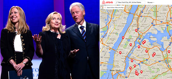 From left: Chelsea, Hillary and Bill Clinton, and a map of Airbnb's New York City listings