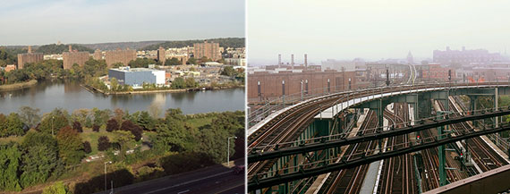 From left: University Heights from across the Harlem River and Brooklyn's Broadway Junction